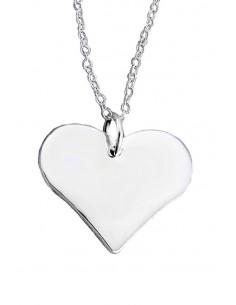 Pandantiv placat cu argint, inimioara simpla plata lucioasa
