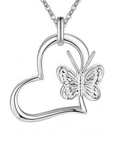 Pandantiv placat cu argint, inimioara cu fluturas si lantisor