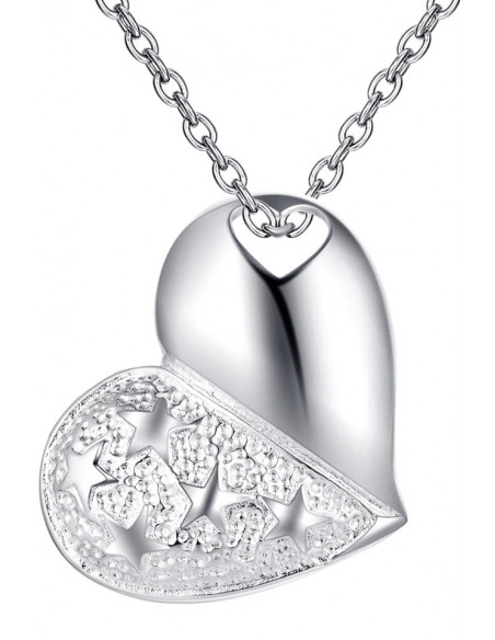 Pandantiv placat cu argint, inima mare cu stelute si lantisor