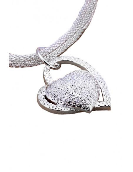 Colier placat cu argint, lant tubular si medalion cu 2 inimioare mari