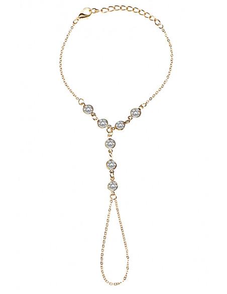Bratara arabeasca cu inel simplu si sapte mici cristale albe
