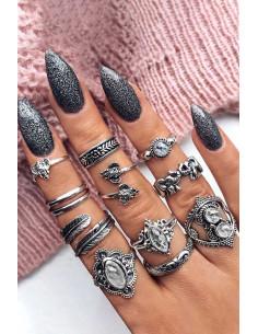 Set 11 inele boho cu cristale transparente, elefantei si frunze