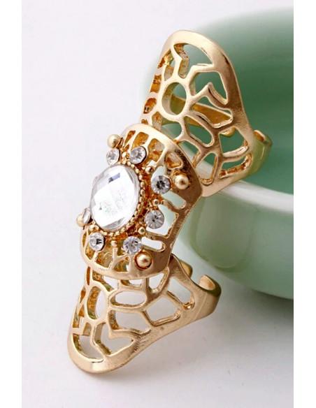 Inel articulat, auriu cu cristal mare central