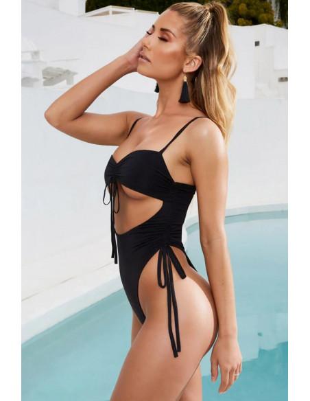Costum de baie intreg, sold inalt si decupat pe abdomen, cu snururi ajustabile
