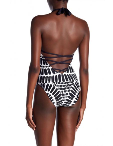 Costum de baie intreg, imprimeu alb-negru tribal si barete incrucisate la spate