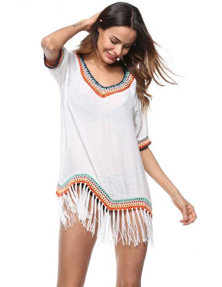 Bluza bohemian alba de plaja, cu snururi si bordura colorata