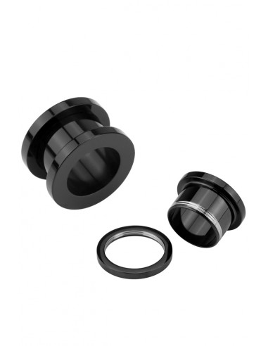 Flesh Tunnel negru cu filet, ear expander, pierce ureche