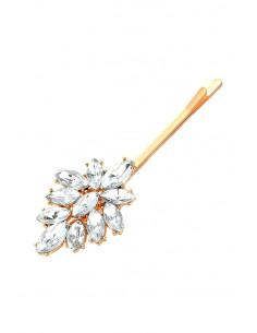 Agrafa pentru par eleganta, medalion floral cu cristale cat-eye transparente
