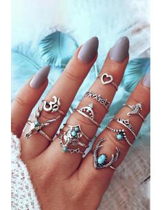 Set 12 inele boho Namaste, cu cerb, vulpe, calut de mare si inimioara