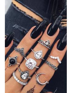 Set 10 inele boho cu margica neagra, cristale albe si semiluna