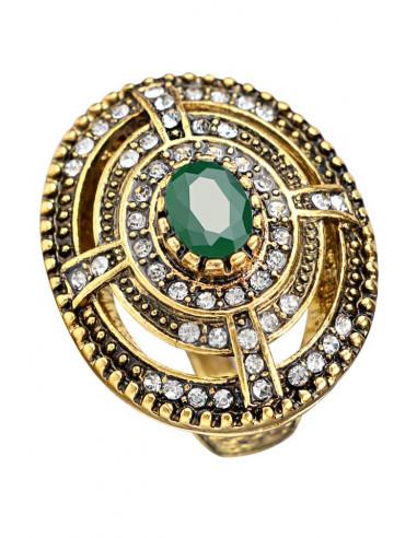 Inel vintage masiv, model oval cu cristale concentrice si piatra ovala