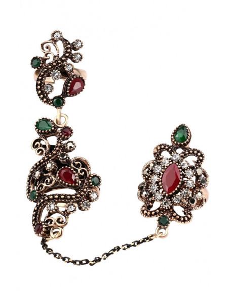 Inel vintage dublu, legat cu lantisor fatetat, model turcesc spiralat cu cristale si hematite