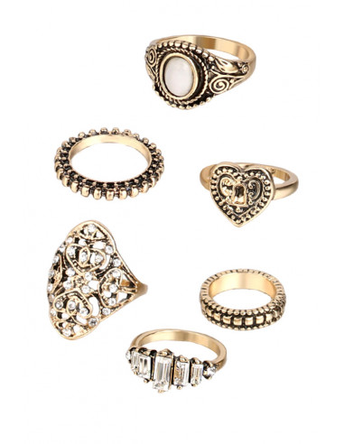 Set 6 inele vintage glam, cu cristale, inimioara si piatra opalescenta