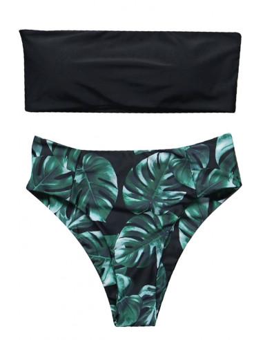 Costum de baie vintage, slip inalt verde cu frunze si sutien bandeau negru