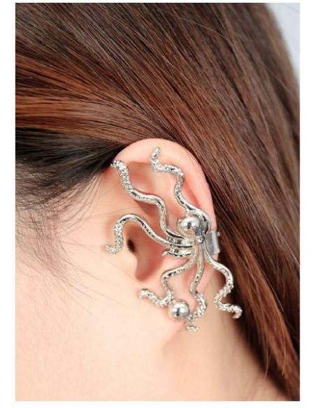 Cercei tip ear cuff, caracatita micuta cu tentacule, prindere dubla, pe ureche