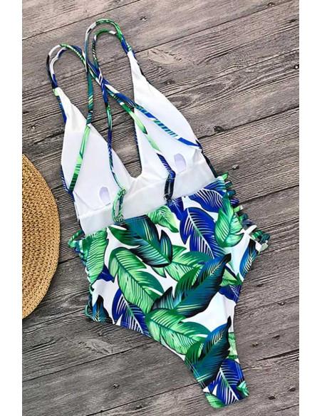 Costum de baie intreg, cu pene verzi-albastre si barete pe laterale