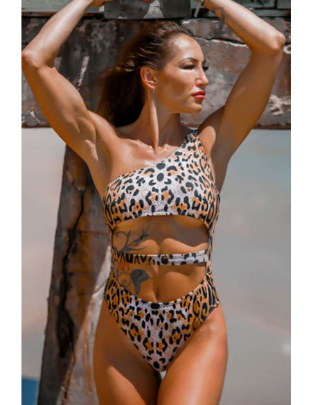 Costum de baie intreg, sold inalt si decupat pe abdomen, imprimeu leopard