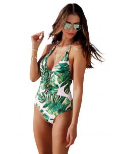 Costum de baie intreg, cu frunze de ficus si snururi pe piept