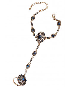 Bratara arabeasca cu inel, cristale albastre, hematite si medalioane rotunde
