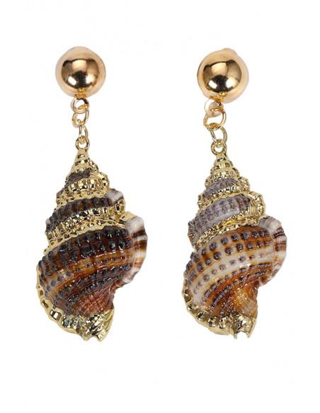 Cercei eleganti din melci naturali maro, pictati manual cu auriu