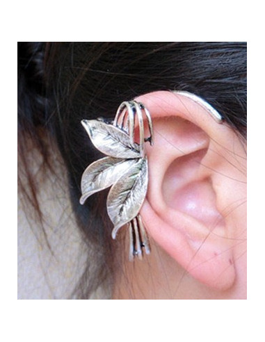 Cercel tip ear cuff, floare de lotus argintie