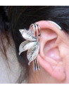 Cercel tip ear cuff, floare de lotus argintie