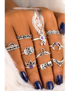Set 10 inele boho cu cristale mov, elefanti, semilune, inimioare si flori