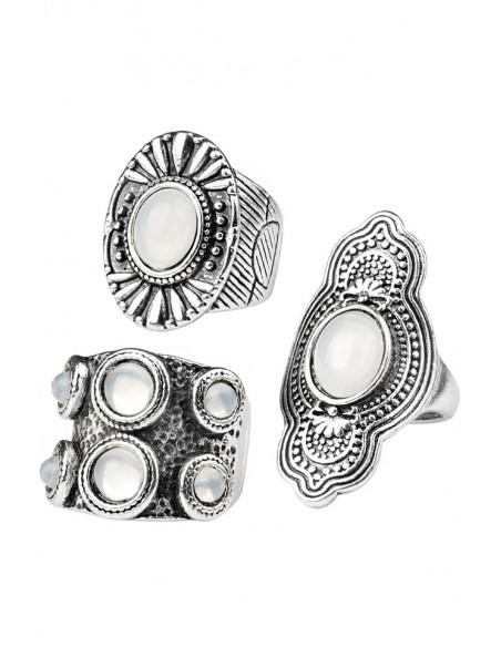 Set 3 inele boho masive, cu cristale albe sidefate si model geometric