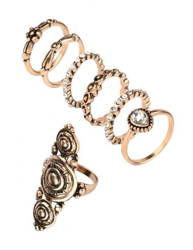 Set 7 inele vintage glam, un inel lung cu discuri si 6 verigi cu cristale