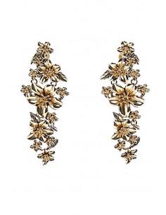 Cercei statement lungi, ciorchine de flori metalice lucioase