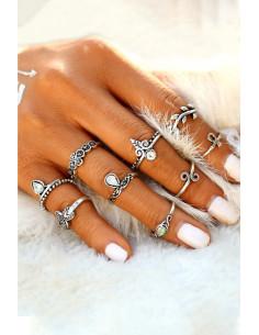 Set 9 inele boho argintii, cu stea de mare, Ank si cristale
