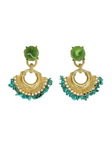Cercei statement rotunzi, cu pietricele turcoaz si medalion verde