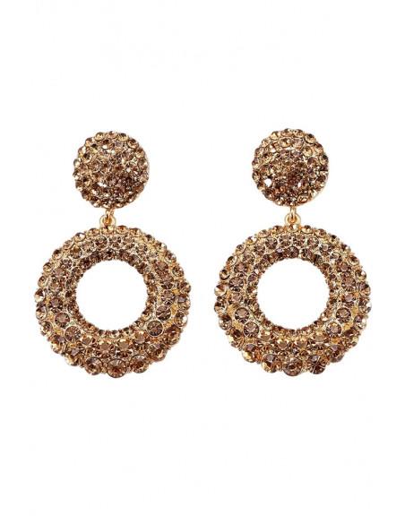 Cercei eleganti cu disc si inel, decorati cu cristale