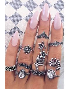Set 10 inele boho cu cristale albe, model floral si lotus