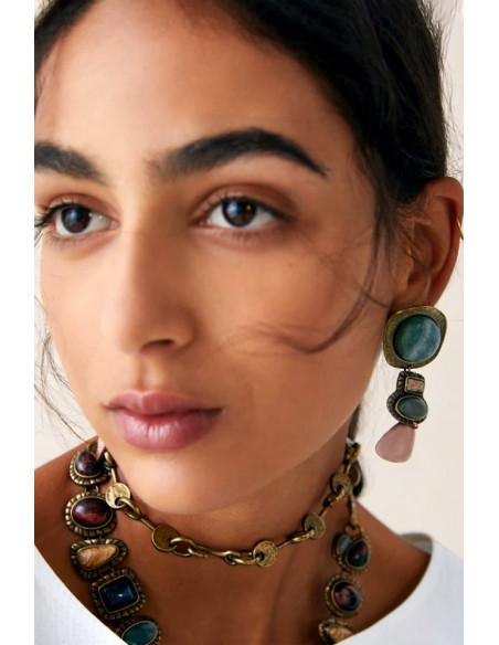 Cercei vintage Copper Carmelita, cu medalioane verzi si crem