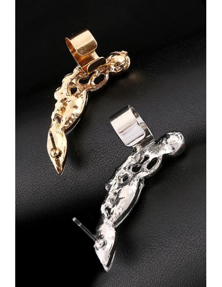 Cercel ear cuff elegant, cristale albe rotunde si ascutite si o perluta alba