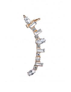 Cercel ear cuff elegant, cristale albe rotunde, ascutite si dreptunghiulare