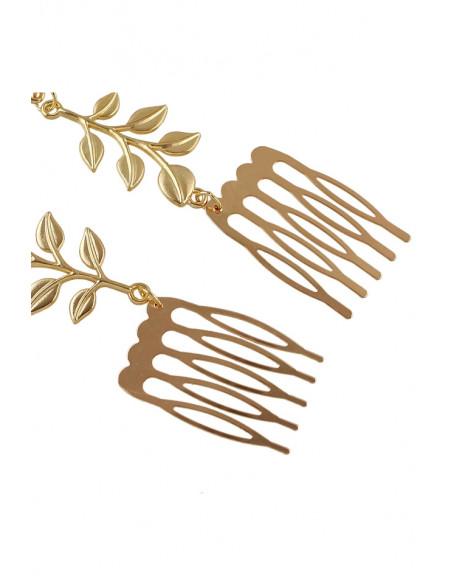 Piepteni decorativi pentru par, cu frunze