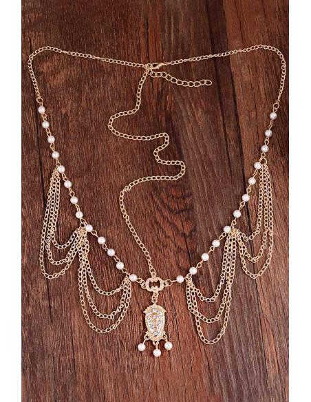 Bentita hippie boho chic aurie cu lantisoare, perle si medalion