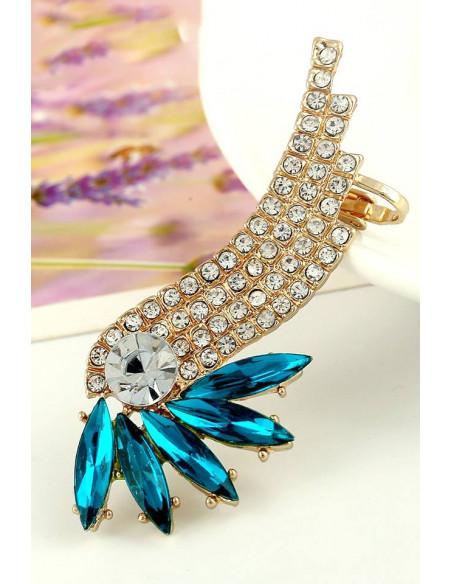 Cercel tip ear cuff, Bird of Paradise cu cristale ascutite