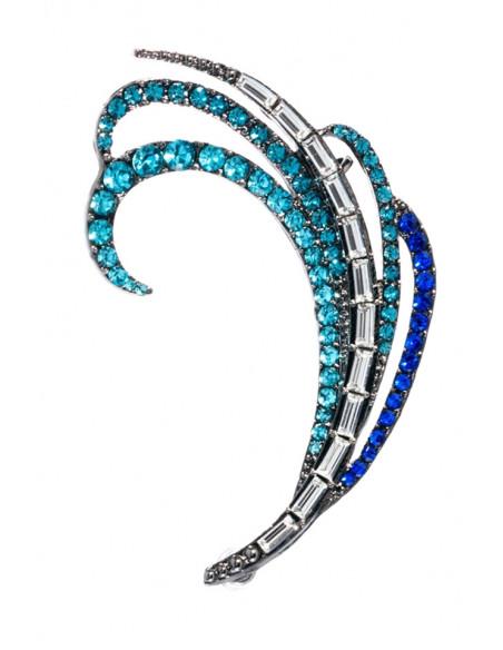 Cercel tip ear cuff, model cu cristale albe si albastre