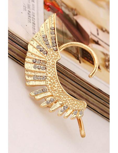 Cercel tip ear cuff, model statement Hawk Wing cu cristale