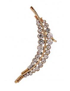 Cercel ear cuff, model statement cu cristale albe Fern Leaf