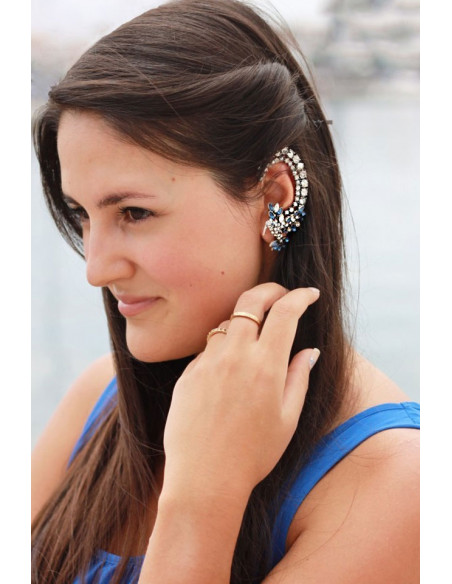 Cercel ear cuff, model Blue Lyre Bird