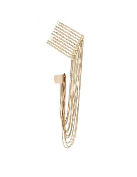 Cercel tip ear cuff, auriu, cu pieptene si lanturi
