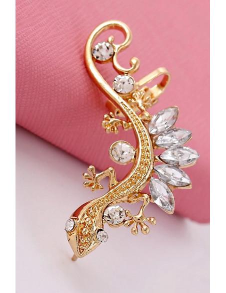Cercel tip ear cuff, model Gecko cu cristale mari