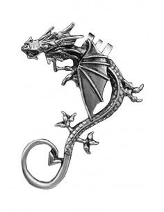 Cercel tip ear cuff, model cu dragon cu creasta si aripi mici, coada ascutita, prindere pe ureche