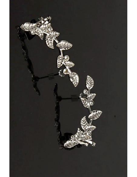 Cercei ear cuff pereche, ramurele cu mici cristale