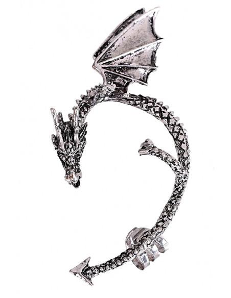 Cercei tip ear cuff, dragon incolacit cu aripi mari, prindere dubla, pe ureche
