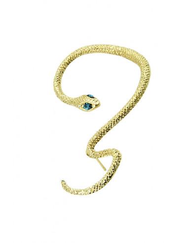 Cercel tip ear cuff, model sarpe auriu cu ochi negri de cristal, prindere pe ureche